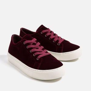 Zara Velvet Burgundy Tennis Shoes